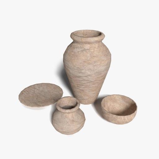 clay pots urns 3d 3ds