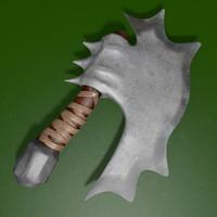 3d model small battle axe