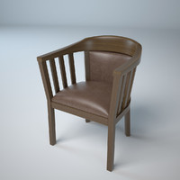chair lether wood 3d obj