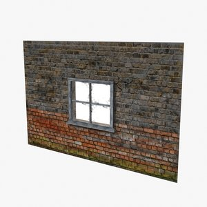 window frame brick wall 3d model