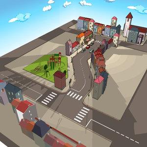 3d city car cartoon