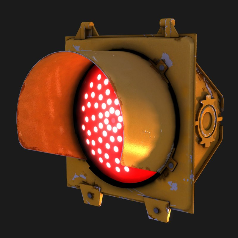 traffic signal stop light 3d model