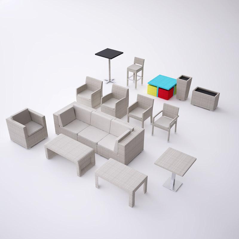 3d wicker rattan furniture set model