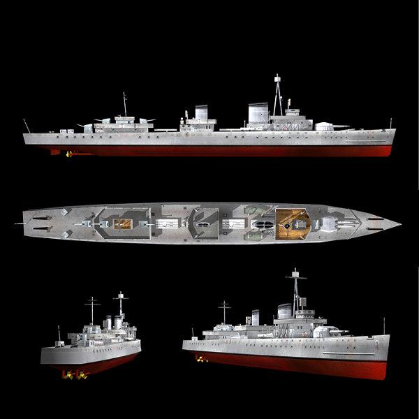 3d model world war german destroyers