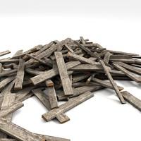 3dsmax wood plank debris
