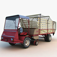 tractor grass collector 3d model