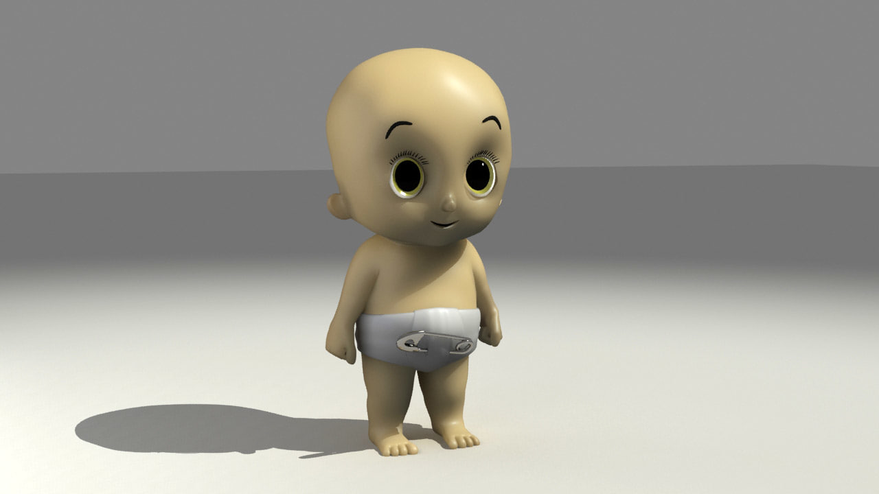 baby cartoon character 3d model