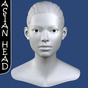 max realistic asian female head
