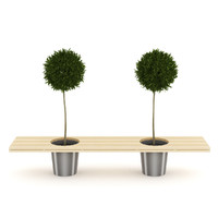 3d orange trees bench-pot model