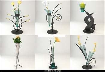 6 flowers vase 3d 3ds