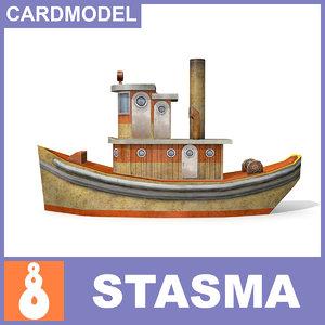 3d tug papermodel ship