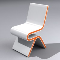 White Orange Modern Chair