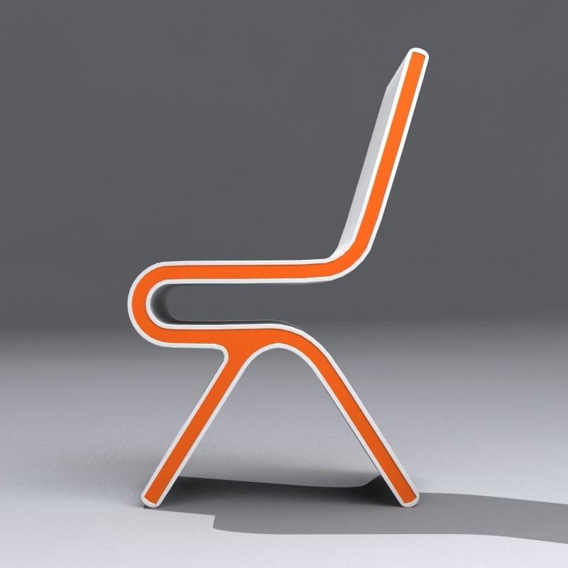 White Orange Modern Chair