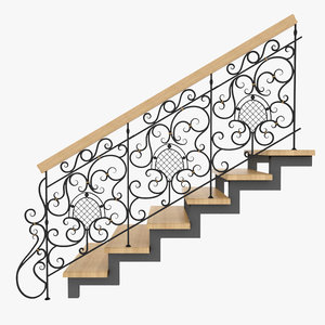 3d model wrought iron stair rails