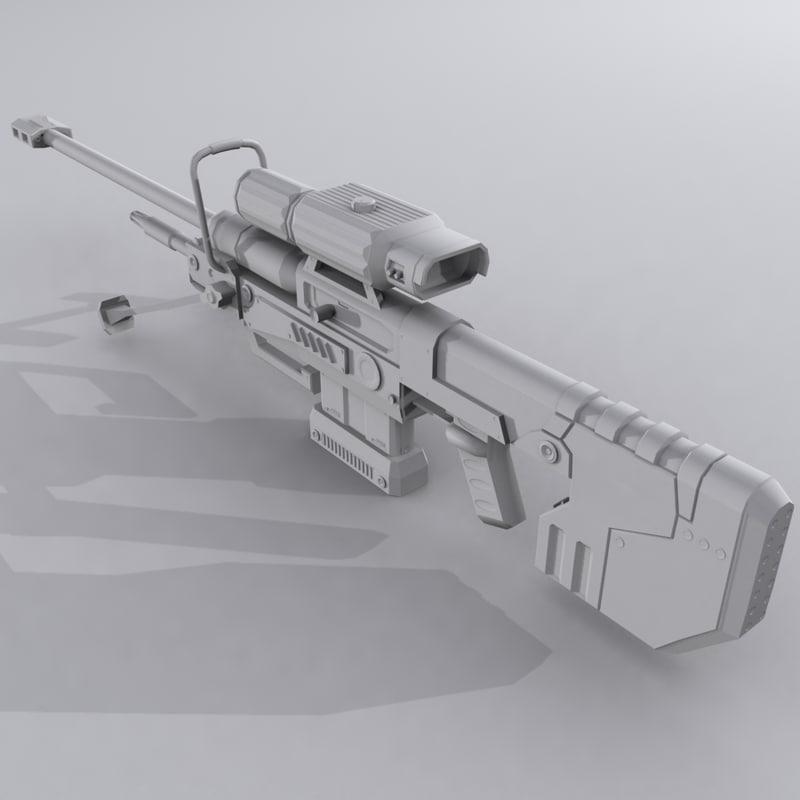 3d custom sniper rifle - model