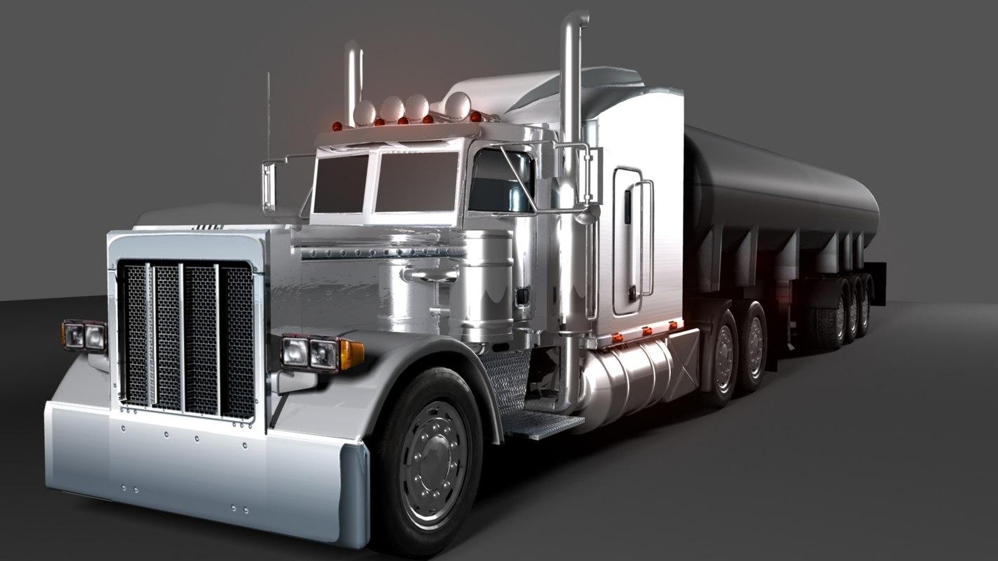 3d model semi truck trailer