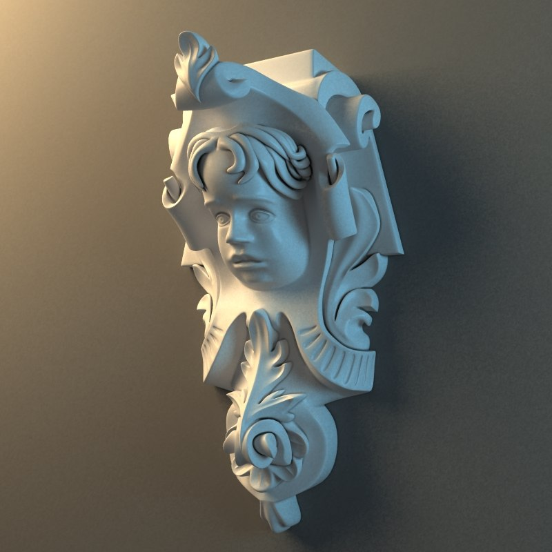3d corbel cupid face