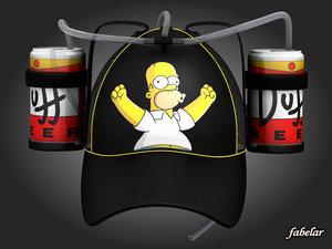 3d model homer simpson beer hat