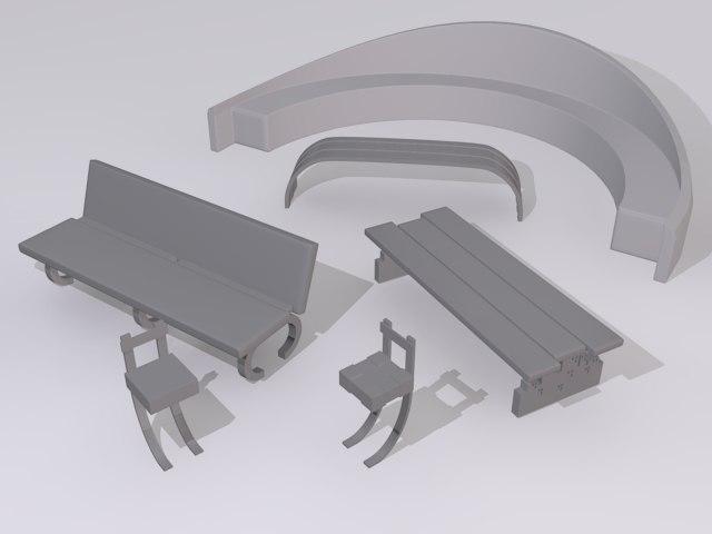 park benches 3d model