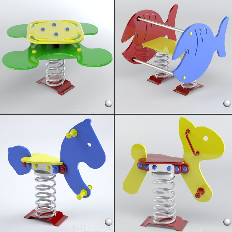 3d playgrounds set modeled model