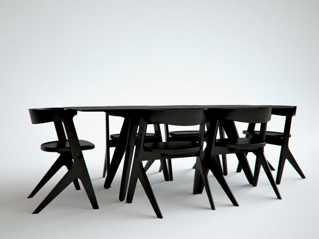 3d model slab dining table composition