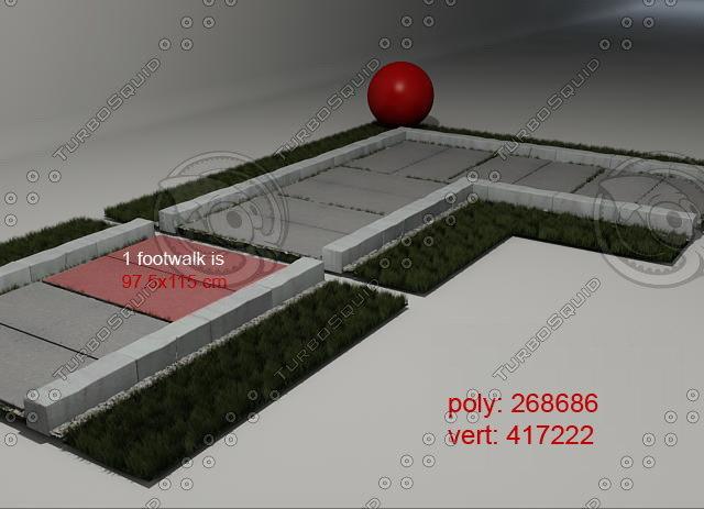 3d grass footwalk 02 model