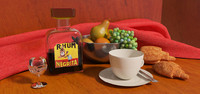 Still Life - rom, fruits and croissants (V-Ray)