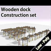 free wooden dock 3d model