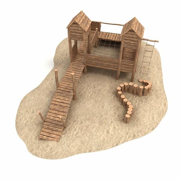 wooden castle 3d obj