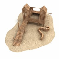 wooden castle 3d obj