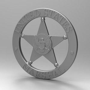 badge marshal 3d model