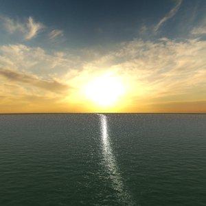 sunrise sea 3d model