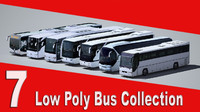7 Low Poly Bus Collection