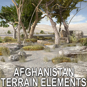 tree plants afghan rock stone 3d max