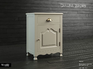 3dsmax bedside table dialma brown