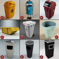 garbage set modelled 3d model