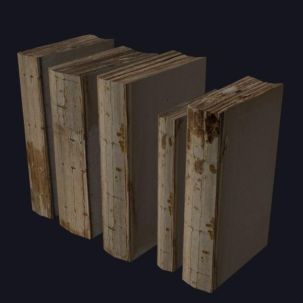 3d model old damaged books
