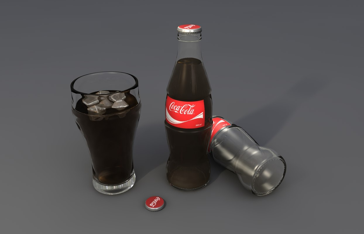 3d coca cola bottle glass model