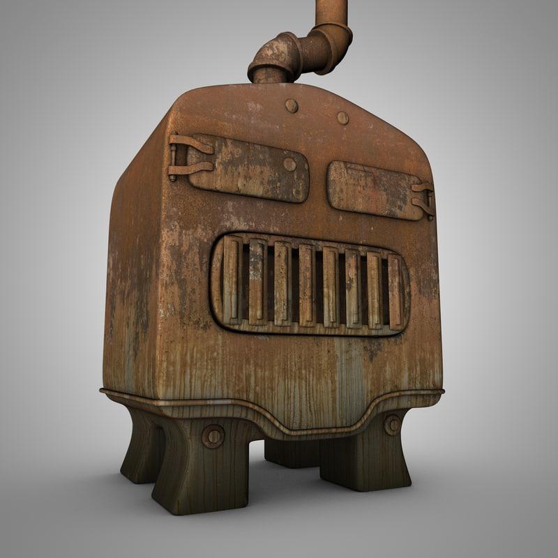 3d model old furnace