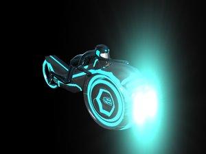 3d grid light cycle bike model