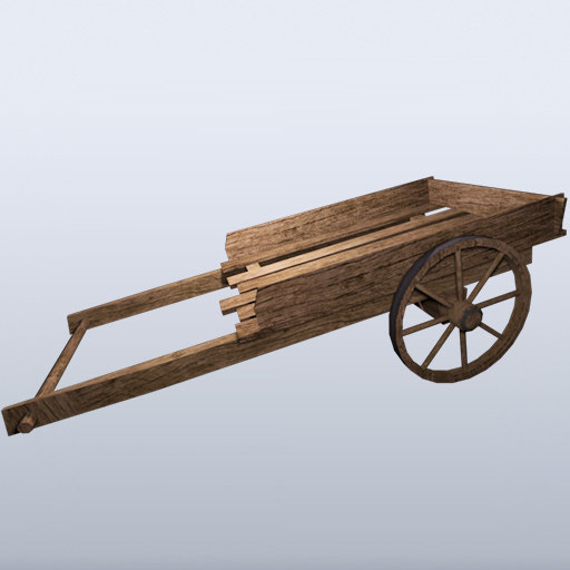 wooden wagon 3d 3ds