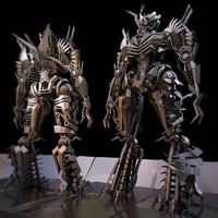 robot warrior rigged - 3ds