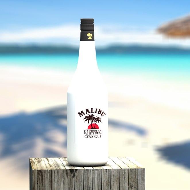 3d malibu bottle glass model