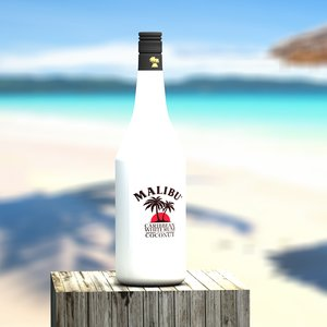 3d malibu bottle glass model