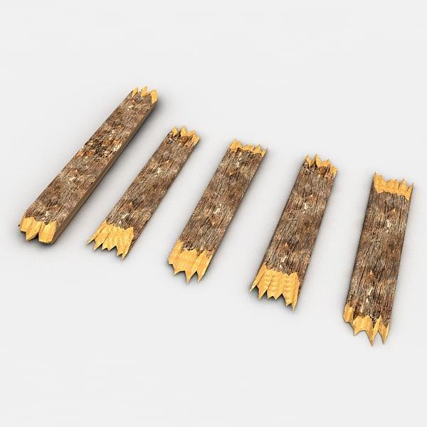 D broken wooden planks