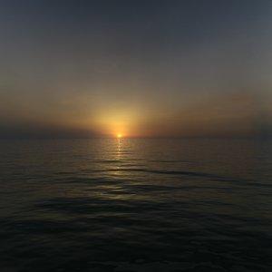 3d sunset sea model