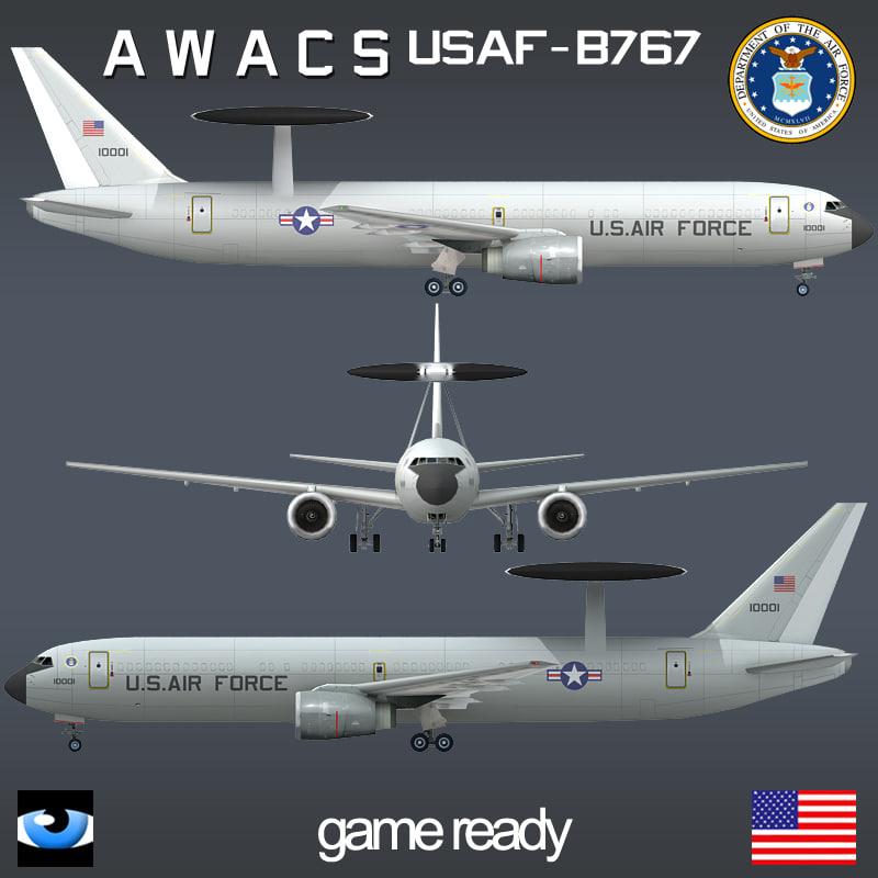 b 767 awacs usaf 3ds