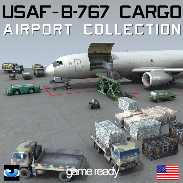 3d 3ds b 767 cargo truck