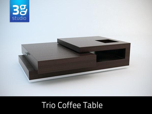 3d trio contemporary coffee table model