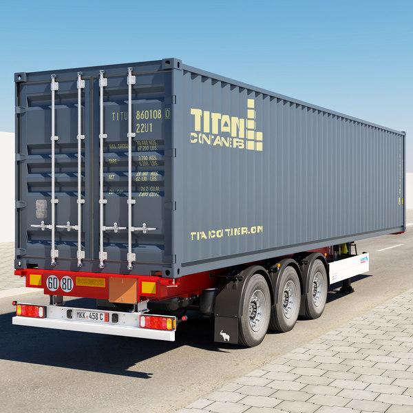semi-trailer container 3d max